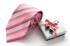 Tie with cuff links and gift box Royalty Free Stock Photo