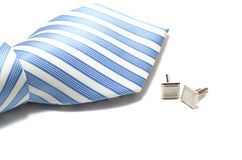 Tie and cuff links on the white Stock Photography