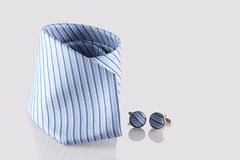 Tie with cuff links. On white background Stock Image
