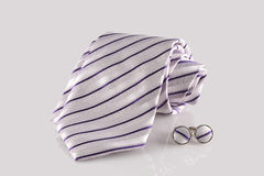 Tie with cuff links. On white background Stock Images