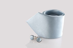 Tie with cuff links. On white background Stock Photos