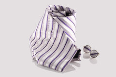Tie with cuff links. On white background Royalty Free Stock Image