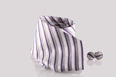 Tie with cuff links. On white background Stock Photo