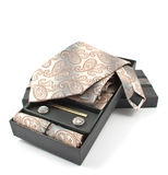 Tie with cufflinks in a box Stock Photo