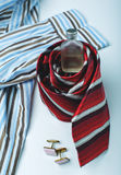 Tie, cufflinks and perfume Royalty Free Stock Photography