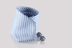 Tie with cufflinks. On white background Stock Photos
