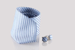 Tie with cufflinks. On white background Stock Image