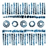 Tie dye art brushes. Print in Shibori style. Ribbon ornament, ribbon, border. Ethnic jewelry. Fashion embroidery for women`s clothing. Elements of batik on Stock Photo