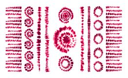Tie dye art brushes. Print in Shibori style. Ribbon stock illustration