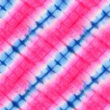 Tie Dye Background. Seamless tie-dye pattern of pink and blue color on white silk. Hand painting fabrics - nodular batik. Shibori dyeing vector illustration