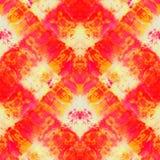 Tie Dye Background. Seamless tie-dye pattern of red and yellow color on white silk. Hand painting fabrics - nodular batik. Shibori dyeing stock illustration