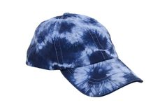 Tie dye baseball hat. A blue tie dye baseball hat for everyday wear when you want to blend in with the crowd - path included royalty free stock photos