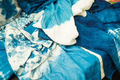 Tie-dye. Blue and white Tie-dye cotton fold the fabric  texture Stock Image