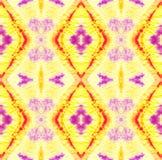 Tie Dye Pattern. Shibori seamless print. Watercolor hand drawn batik. Summer ink japan illustration. Handmade watercolour shirt  Aztec kaleidoscope texture vector illustration