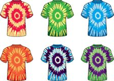 Tie Dye Shirts. A variety of multi-colored tie dye shirts Stock Image