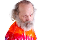 Tie Dye T-Shirt Man Looking at You with Questioning Stock Photo