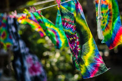 tie dye textile pattern on clothes line Royalty Free Stock Photo