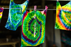 tie dye textile pattern on clothes line Stock Image
