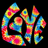 Tie Dyed Love Symbol. Colorful Tie Dyed Love Symbol Stock Photo