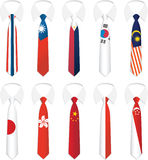 tie för 3 nationality Royaltyfri Fotografi