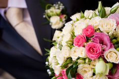 Tie and flower bouquet Royalty Free Stock Photos