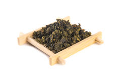 Tie Guan Yin Oolong tea on bamboo serving tray Royalty Free Stock Photography