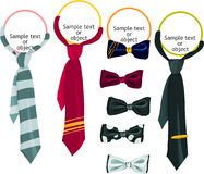 Tie icon set. Set of a tie and bow icons Stock Image