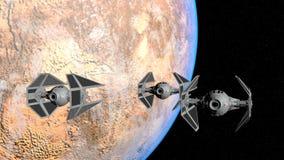 TIE Interceptor. 3 TIE Interceptor from Star Wars in space of planet Tatooine Royalty Free Stock Photo