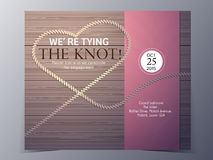 Tie the knot concept wedding invitation card vector template. Tie the knot on wood background concept  wedding invitation card vector template Stock Photo