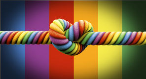 Tie The Knot Gay Marriage. A coarse rope in the colors of the homosexual flag with a knot tied in the middle on an isolated background Royalty Free Stock Photo
