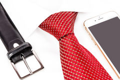 Tie knotted double Windsor and handy Stock Photos