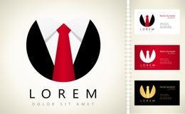 Tie logo. Men`s suit. Tie vector. Men`s suit logo vector with business card template royalty free illustration