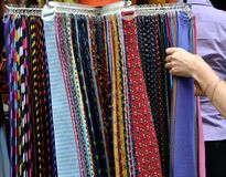 Tie market in Florence, Italy  Stock Photos