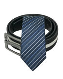 Tie and men belt isolated on white Royalty Free Stock Image