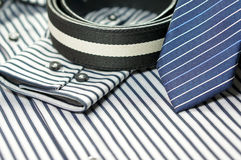 Tie on men shirt with belt Royalty Free Stock Image