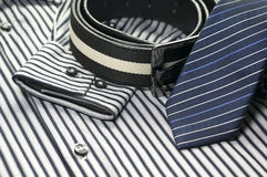 Tie on men shirt with belt Royalty Free Stock Photo