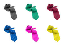 Neck Tie mix color Roll on White Stock Image
