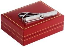 Tie-pin e caixa de prata imagens de stock