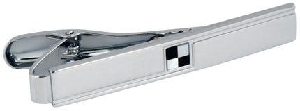 Tie-pin on white. Noble metal gray tie-pin isolated on white Stock Photo