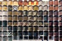 Tie Rack. Rack with colorful silk ties royalty free stock photos