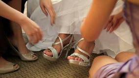 Tie the Sandals stock video