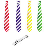 Tie set and pin. This image represents a tie set and a silver pin Stock Images