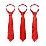 Tie Set. Vector. Red Tie Set with Different Patterns. Vector illustration stock illustration