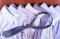 A tie is on shirts Royalty Free Stock Photo