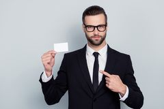 Tie tux shirt choose choice lawyer financier help concept. Portr. Ait of serious confident smart modern investor banker executive boss manager freelancer showing Stock Photos