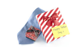 Tie and two gift boxes with card tag write happy father day word stock photos
