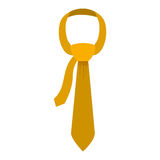 Tie in yellow color with knot. Vector illustration Stock Images