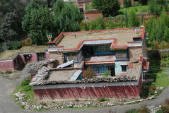 Tiebtan dwellings. A  very classical Tibetan house  in Gyatsa,Lhoka Tibet Stock Photography