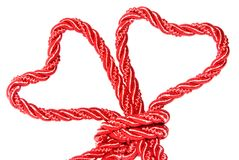 Tied. Red heart with knot on white background Stock Photo