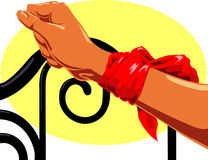 Tied arm. Arm tied to a cast iron headboard with a red scarf royalty free illustration